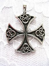 NEW SOLID PEWTER CELTIC INFINITY KNOT MALTESE CROSS TEMPLAR PENDANT ADJ NECKLACE