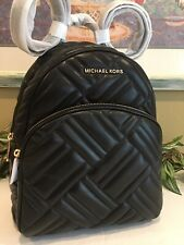 MICHAEL KORS ABBEY MEDIUM BACKPACK BAG QUILTED BLACK VEGAN FAUX LEATHER GOLD