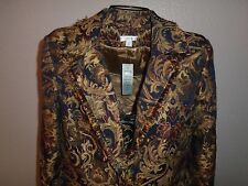 CACHE Gold Bronze Tapestry Jaquard Cropped Blazer Jacket sz 6 NWT