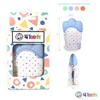 4Teeth Baby Teething Mitten Premium Soft Silicone Toy in Gift Box BLUE,PINK