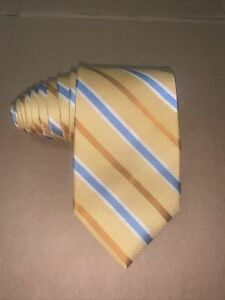 """$60 Brooks Brothers """"346"""" Made In USA Gold & Blue Stripes Woven Silk Tie NWT"""
