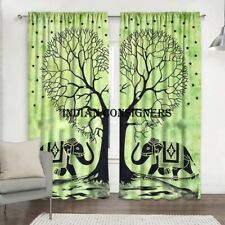 Green Color Elephant Heart Tree Wall Hanging Beautiful Door Window Curtain Art