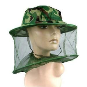 Mosquito Insect Head Net WITH HAT Wasp Bug Hat Mesh Travel Camping Fishing UK