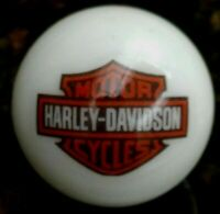 Rare Harley Davidson Red & Black Bar & Shield On 1 Inch White Marble New