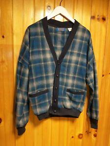 VTG Pendleton Red Blue Plaid Chunky Button Cardigan Sweater USA Made Wool Men L