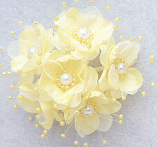 "1.5"" SILK FLOWERS WITH PEARL - PACK OF 12PCS. -  COLOR  YELLOW"