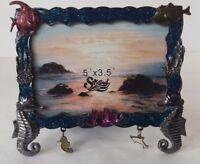 Beach Sea Horse Fish Blue Glitter Metallic Picture Frame w/ Charms Metal Glass