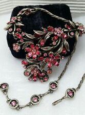 Vintage Hollycraft 1953 Rhinestone Flower Silver Tone Bib Choker Necklace