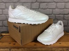 Reebok De Las Señoras UK 4 EU 37 Blanco Perlado De Cuero Clásico Zapatillas