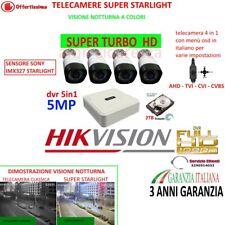 KIT VIDEOSORVEGLIANZA DVR HIKVISION 8 CANALI 4 TELECAMERE COLORI STARLIGHT HD2TB