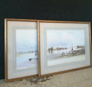 Two Large Gilded Wooden Framed Original Watercolour Paintings