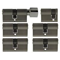 6x Tür Zylinder Schloss 40 / 60 mm gleichschliessend +5 Schlüssel Schliessanlage