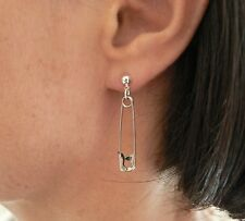 Punk Safety Pin Earrings Classic 70's Retro Chic Studs Silver