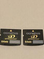 2 X FUJIFILM 64mb XD PICTURE CARD MEMORY CARD FOR FUJIFILM OLYMPUS CAMERA'S