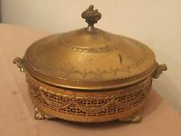 big antique ornate gilded brass glass vanity tray jewelry lidded footed box jar