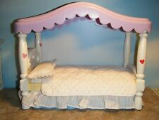 BARBIE SIZE LITTLE TIKES CANOPY BED w/ORIGINAL BEDDING