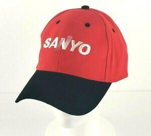 Vintage Sanyo 1990's Hook and Loop Hat / Cap Red and Black