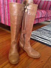 RARE Shakuhachi Brown Cowboy Boots size 38 - tassel, knee high, studded, western