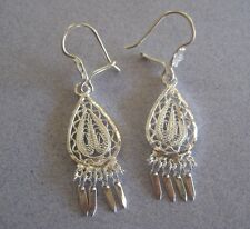 Mexican 925 Silver Taxco  Filigree Swirls Teardrop Dangle Frida Style Earrings