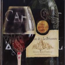 Vintage Blechschild, Dekoration, Weinglas und Weinflasche, Gastronomie Ambiente