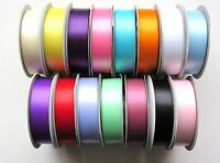 Double Sided Satin Ribbon Rolls 15 Colours, 5 Widths (25M / 50M)(3-25mm) Crafts
