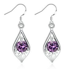 Classic 925 Sterling Silver Filled Purple Zirconia Crystal Leaf Dangly Earrings