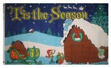 3x5 Tis The Season Flag Holiday Merry Christmas Banner Xmas Gifts Elves 3'X5'