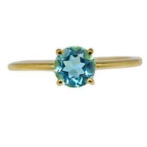Real Gold Plated London Blue Topaz 925 Ring Jewelry s.6 BR108925