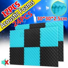 12X Acoustic Foam blue Black Panel Tiles Wall Record Studio Sound Proof 30cm