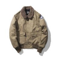 Retro Men's Winter Coat Warm Fleece Lined B15 Flight Jacket Military Army Coat