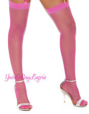 """Plus Size NYLON STOCKINGS Classic Sheer for use w/GARTERS Stretches to 25"""" round"""