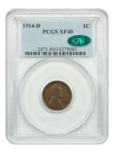 1914-D 1c PCGS/CAC XF40 BN - Lincoln Cent - Key Date
