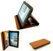 Elegant Matt Textile Rotating Brown Case Cover Stand Samsung Galaxy Tab2 7.0""
