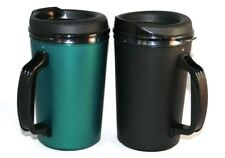 2 Foam Insulated 20 oz ThermoServ Mugs Black & Green