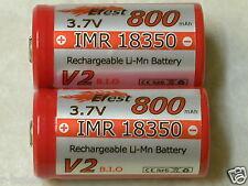 2 EFEST  IMR 18350 RECHARGEABLE BATTERY LI-MN 800mAh 3.7v HIGH DRAIN RED  B-TOP