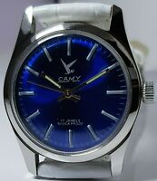 CAMY 17-JEWELS HAND WINDING WRIST WATCH DARK BLUE DIAL SWISS MADE WHITEBANDCOLOR