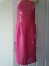 SPLENDIDA rosa caldo Faux shantung di seta abito senza spalline ricamate Oasis UK12