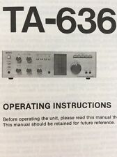 Sony TA-636 Stereo Integrated Amp Original Owners Manual 10 Pages ta636