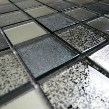 Oxide Blue & Grey Polished Glass Mosaic Tile Bathroom Kitchen Wall Mosaics Tiles