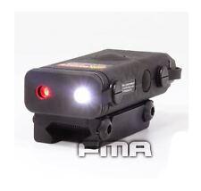 CASCO Airsoft PEQ 10 LASER ROSSO LUCE TORCIA LED Torcia 20mm RAIL Nero UK PUNTATORE