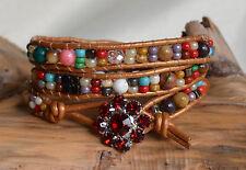 Multi-Color Leather Wrap Bead Bracelet Three Wrap Bracelet Handmade by Yevga