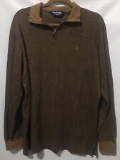 Polo Golf Ralph Lauren Mens L Brown Cotton Alpaca Knit Half Zip Pullover Shirt