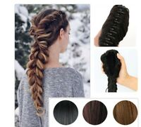 Straight Drawstring Thick Fishtail Plaited Braid Ponytail Clip In Hair Extension