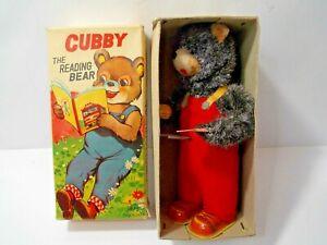 Vintage Cubby The Mechanical Tin  Reading Bear by ALPS Japan