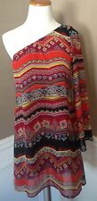 NWT Entro Boutique S Off One Shoulder A-line Dress In Fall Colors