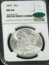 1897 P Morgan Silver Dollar NGC MS64 CAC White with Frosty Luster, PQ #96L