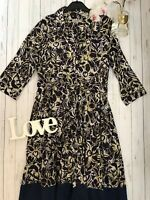 Kew Size 16 patterned ethnic shirt dress patterned button down long sleeve navy