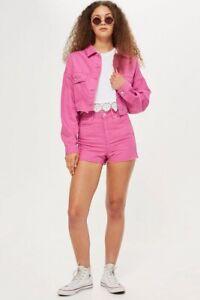Topshop Moto Mom Cutoff Jean Shorts Sz 10 Festival Boho High Rise Pink Stretch