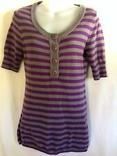 ROXY Sweater Short Sleeve Purple Gray Stripe Size M/M Lightweight Summer Surfer