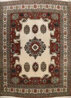 Vintage IVORY Traditional Ardebil Area Rug Hand-knotted Oriental Carpet 12x13